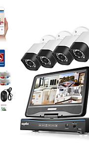 Sannce® 4ch 4pcs 720p dvr (med lcd) vejrfast hjemme overvågningssikkerhed uden hdd