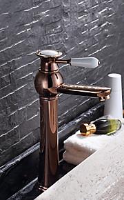 Moderne CentersatKeramisk Ventil Enkelt Håndtak Et Hull for  Rose Gull , Baderom Sink Tappekran