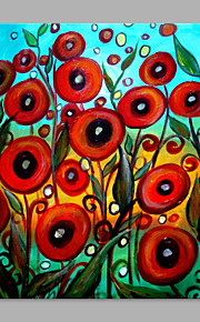 IARTS® Hand Painted Modern Abstract Red Poppies Flowers Oil Painting On Canvas with Stretched Frame Wall Art For Home Decoration Ready To Hang