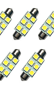 5pcs verduisterde led lichten 41mm 1w 6smd 5050 chip wit 80-100lm 6500-7000k dc12v leeslamp nummerplaat lichten