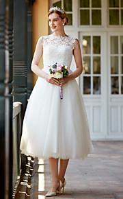 Princesse Longueur Genou Dentelle Tulle Robe de mariée avec Boutons Châssis / rubans par LAN TING BRIDE®