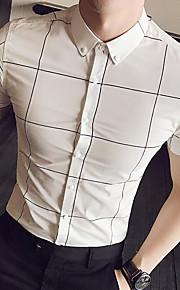 남성 격자무늬/체크 셔츠 카라 짧은 소매 셔츠,심플 일상 캐쥬얼 면