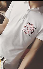 남성 솔리드 셔츠 카라 짧은 소매 Polo,심플 일상 면 여름 중간