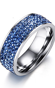 Women's Ring Fashion Elegant Blue AAA Cubic Zirconia Titanium Steel Ring Jewelry ForWedding Anniversary Party/Evening Daily