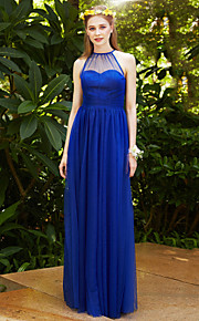Sheath / Column Jewel Neck Floor Length Tulle Bridesmaid Dress with Bow(s) Sash / Ribbon Ruching Pleats by LAN TING BRIDE®