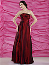 Sheath/Column Plus Sizes Mother of the Bride Dress - Burgundy Floor-length Sleeveless Taffeta