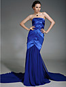 TS Couture® Formal Evening / Military Ball Dress - Open Back Plus Size / Petite Trumpet / Mermaid Strapless Court Train Chiffon / Stretch Satin
