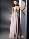 Formal Evening / Military Ball Dress - Open Back Plus Size / Petite Sheath / Column V-neck / Straps Floor-length Chiffon withDraping /