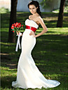 Lanting Bride Trumpet/Mermaid Petite / Plus Sizes Wedding Dress-Sweep/Brush Train Strapless Satin