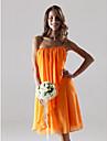 Lanting Bride® Mi-long Mousseline de soie Robe de Demoiselle d\'Honneur - Fourreau / Colonne Sans Bretelles Grande Taille / Petite avec