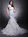 lanting mariee ajustement& flare petite / tailles plus robe de mariage train-cour un organza epaule / satin
