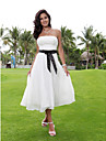 Lanting Bride A-line Petite / Plus Sizes Wedding Dress-Tea-length Strapless Chiffon