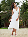 A-line Petite / Plus Sizes Wedding Dress - Ivory Asymmetrical V-neck Chiffon