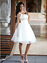 Lanting Bride Princess Petite / Plus Sizes Wedding Dress-Knee-length Scoop Satin / Tulle