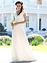 Lanting Bride Trumpet/Mermaid Petite / Plus Sizes Wedding Dress-Floor-length V-neck Chiffon