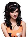 キャップレスロングトップグレードの品質合成黒い巻き毛の美しいかつら