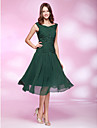 TS Couture Cocktail Party / Holiday / Wedding Party Dress - Dark Green Plus Sizes / Petite A-line / Princess Bateau Knee-length Chiffon