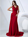 Formal Evening Dress - Ruby Plus Sizes Sheath/Column V-neck/Cowl Sweep/Brush Train Chiffon