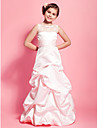 Floor-length Lace / Satin Junior Bridesmaid Dress A-line / Princess Scoop Natural with Lace / Pick Up Skirt / Sash / Ribbon / Ruching