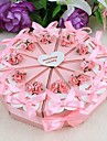 Cake Favor Box With Pink Flowers and Ribbon (Set of 10)