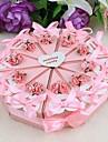 Torta bomboniera con fiori rosa e nastro (set di 10)