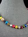 4-9mm curcubeu culoare autentic de apă dulce colier de perle - 18 inch