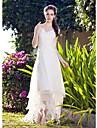 LAN TING BRIDE Linea-A Da principessa Vestito da sposa - Classico Da ricevimento Ispirazione Vintage Asimmetrico A V Organza con Di pizzo