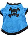 Hundar Dräkter/Kostymer T-shirt Outfits Blå Hundkläder Vår/Höst Dödskalle Djurmönstrad Cosplay Halloween