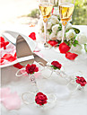 Serving Sets Wedding Cake Knife Crystal Red Roses  Cake Serving Set