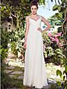 Lanting Bride Sheath/Column Petite Wedding Dress-Floor-length V-neck Chiffon