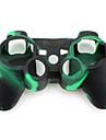 skyddande kamouflage stil Silikonfodral för PS3 Controller (grönt och svart)
