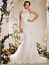 Lan Ting Trumpet/Mermaid Plus Sizes Wedding Dress - Ivory Court Train High Neck Satin/Tulle