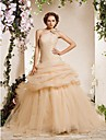 Ball Gown Plus Sizes Wedding Dress - Champagne Chapel Train One Shoulder Organza
