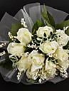 "Wedding Flowers Round Roses Bouquets Wedding Ivory Satin / Tulle Ivory 11.02""(Approx.28cm)"