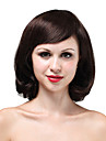 Mono Top High Quality Human Hair Medium Darkest Brown Curly Hair Wig