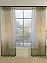 (Two Panels) Green Botanical Contemporary Sheer Curtain