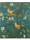 tryckt djur fågel blommig duk konst med sträckt ram
