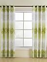 Green Leaf Rayon Window Curtains Drapes