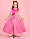 A-line / Princess Ankle-length Flower Girl Dress - Satin / Tulle V-neck / Straps with Flower(s) / Ruching