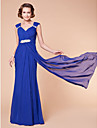 Sheath/Column Plus Sizes / Petite Mother of the Bride Dress - Royal Blue Floor-length Sleeveless Chiffon