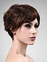 Capless 100% äkta hår peruk kort av hög kvalitet naturlig look mörkbrunt lockigt hår peruk