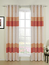 Designer Two Panels Stripe Orange Dining Room Poly  Cotton Blend Curtains Drapes