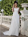 Lanting Bride® Funda / Columna Tallas pequenas / Tallas Grandes Vestido de Boda - Clasico y Atemporal Transparente Corte Cuchara Raso con