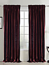 Two Panels Neoclassical Solid Red Bedroom Polyester Panel Curtains Drapes