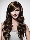Capless långa bruna lockigt hår peruk 15 färger att välja