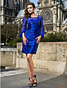 Homecoming Cocktail Party Dress - Royal Blue Plus Sizes Sheath/Column Scoop Short/Mini Stretch Satin/Chiffon
