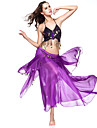 Belly Dance Outfits Women\'s Performance Chiffon Coins Purple Belly Dance / Performance Spring, Fall, Winter, Summer Dropped
