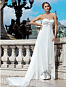 Lanting Bride® Sheath / Column Petite / Plus Sizes Wedding Dress - Chic & Modern See-Through Wedding Dresses Court Train Sweetheart
