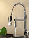 Contemporain Pull-out / Pull-down Montage Avec spray demontable / Douche with  Valve en ceramique Mitigeur un trou for  Chrome , Robinet