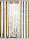 Two Panels  Beige Chenille Jacquard Energy Saving Curtain